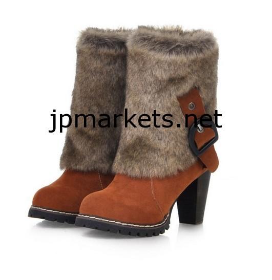 2014新しく新しい到着冬の毛皮バックル装飾ハイヒールブーツラストレッド/コーヒー/ブラックCD13092112問屋・仕入れ・卸・卸売り