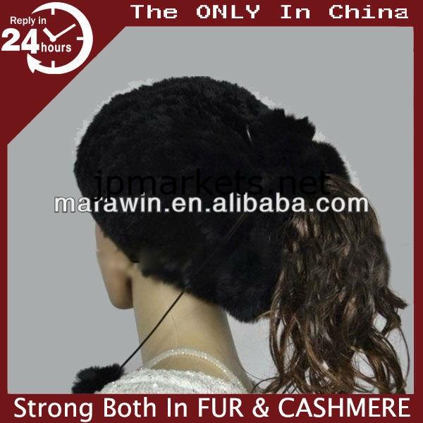 CFYS0037の冬の女性のレックスRibbitの毛皮ニットヘッドバンド/帽子問屋・仕入れ・卸・卸売り