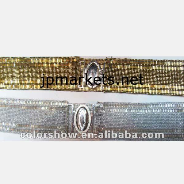 ファッション手作り弾性ビーズベルト。ゴールドビーズベルト、女性の様々な色/サイズで利用ベルト、女性のビーズベルト、ビーズ問屋・仕入れ・卸・卸売り