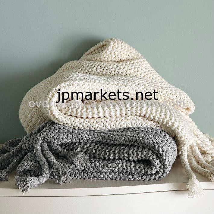 ソファのために織ら50DA24綿100%ニット毛布白い綿の格子縞の綿のスロー問屋・仕入れ・卸・卸売り