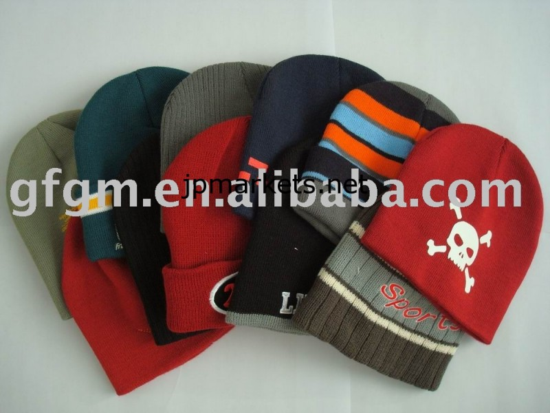編まれた冬の帽子、ニットビーニー、アクリルビーニー帽子問屋・仕入れ・卸・卸売り