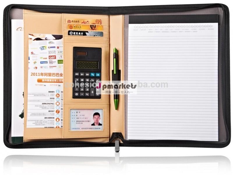 ジッパー式のサイズのリネンa4ポートフォリオ付き電卓問屋・仕入れ・卸・卸売り