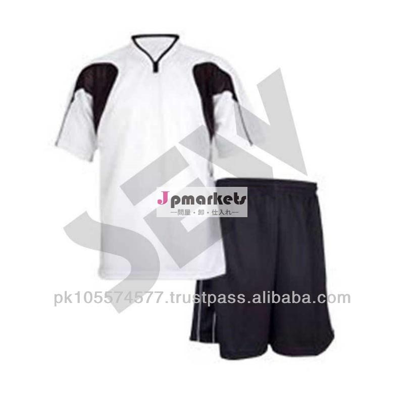 ファッションデザインの短辛口白・黒ポリエステルサッカーユニフォーム問屋・仕入れ・卸・卸売り