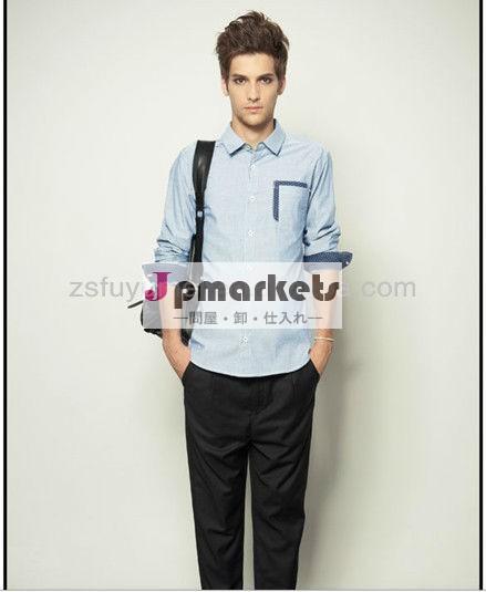 男性のファッションの男性のシャツのデザイン2014年イタリアレジャー綿のファブリックタイプ問屋・仕入れ・卸・卸売り