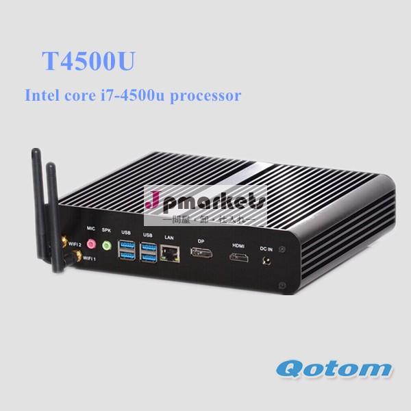 Windows7ミニpcコアi 7,qotom- t4500u1.8ghzデュアルコア、 まで3.0ghzの、 2gbramssd128グラムミニpc、 ファンレスpchdmi+dp+lan+300mwifi問屋・仕入れ・卸・卸売り