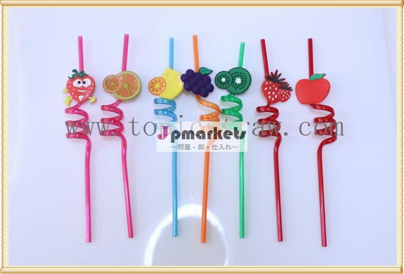 スパイラルフルーツ装飾的なプラスチック製の漫画のわら問屋・仕入れ・卸・卸売り