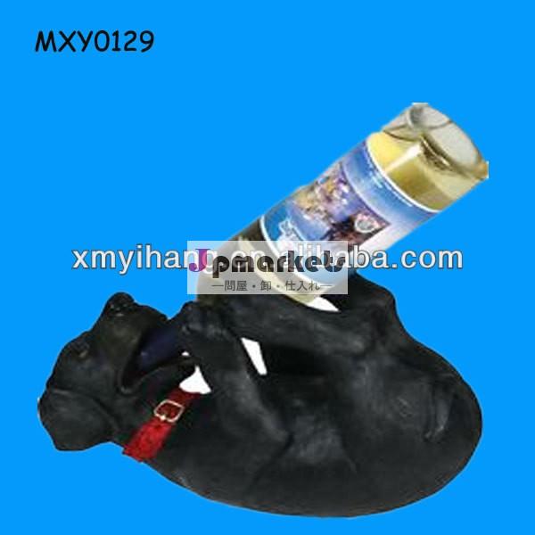 樹脂犬の新しいファッション黒ワインボトルホルダー問屋・仕入れ・卸・卸売り