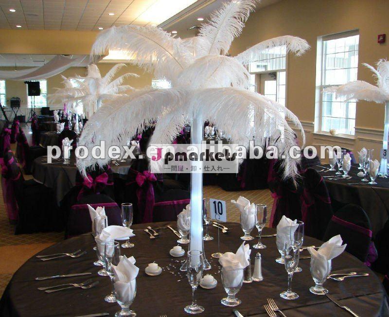 センターピースの結婚式の白いダチョウの羽の装飾問屋・仕入れ・卸・卸売り