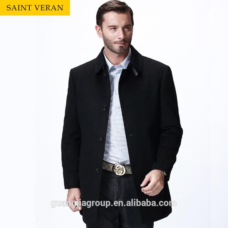 新しい到着の冬の聖人veran2016カスタムデザインされたブラック色の男性用ウールのオーバーコート-プラスサイズコート問屋・仕入れ・卸・卸売り