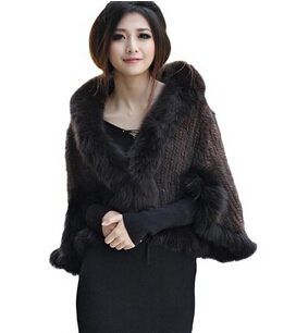 短い女性の100%本物のミンクの毛皮のキツネの襟付きクロークコート-コート問屋・仕入れ・卸・卸売り