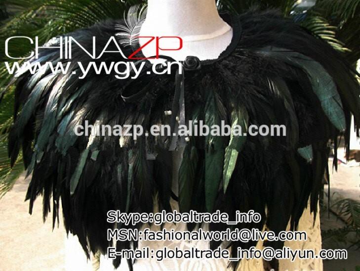 手作りの2層aa品質黒い雄鶏coqueの羽の襟岬肩をすくめる-コート問屋・仕入れ・卸・卸売り