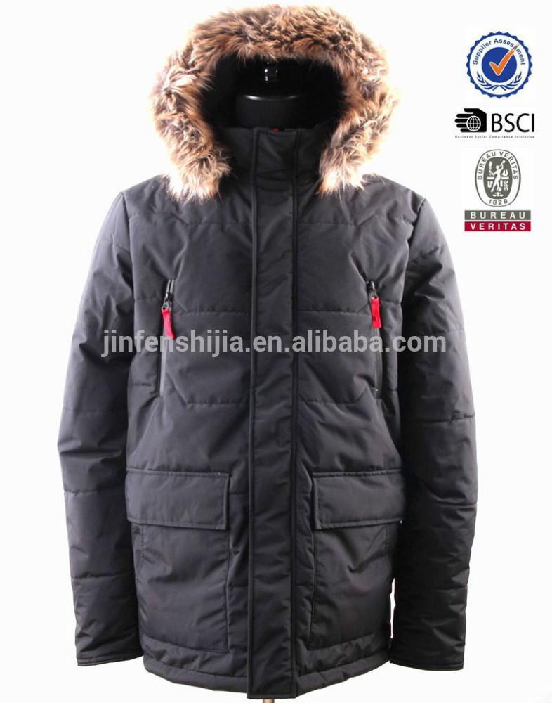 メンズパッド入りの防風暖かいジャケット取り外し可能なフードフェイクファー付き-プラスサイズコート問屋・仕入れ・卸・卸売り