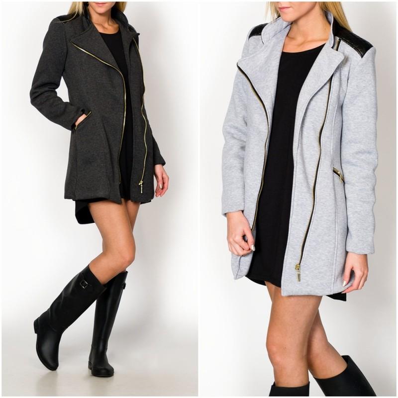 新しい女性のファッション冬暖かい2015メランジpl1カーディガンブラウス黒のジャケットコート-ジャケット問屋・仕入れ・卸・卸売り