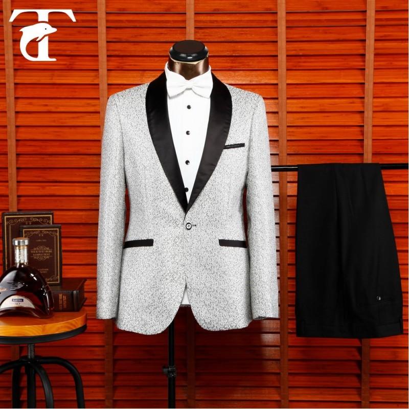 男性の白い1ボタンカスタムディナージャケットテーラードスーツ黒のディテールと-スーツ、タキシード問屋・仕入れ・卸・卸売り