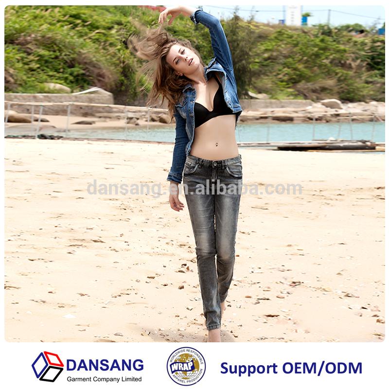 ジーンズサプライヤー中国でダークグレー色スリム2015パンツの女性のためのストレッチジーンズ-ジーンズ問屋・仕入れ・卸・卸売り