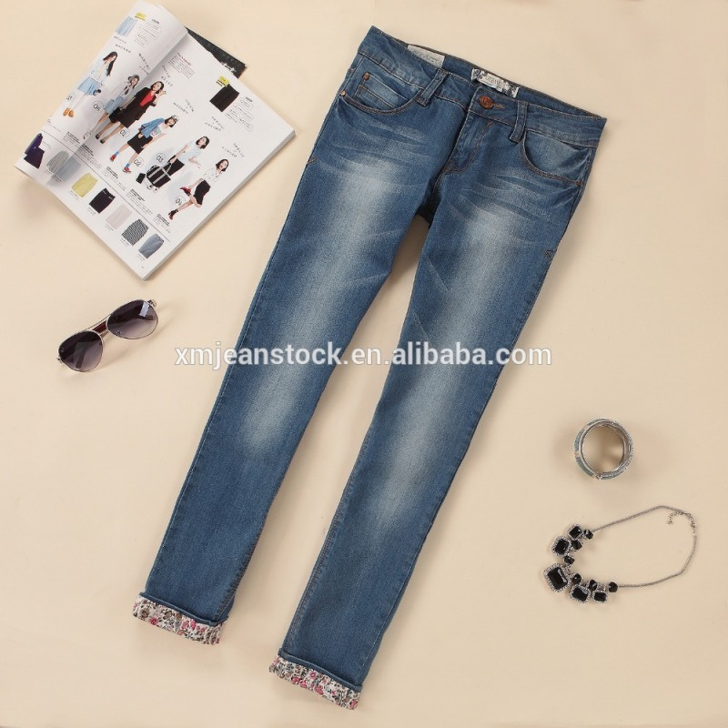 熱い販売の女性のジーンズ株式によるデニム生地中国製-ジーンズ問屋・仕入れ・卸・卸売り