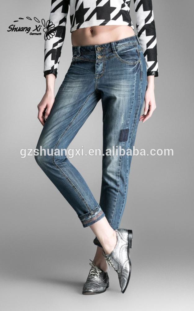 Ajld- 06スリムボーイフレンドジーンズ/レディース正方形のボーイフレンドジーンズウエスト/ボーイフレンドリラックスした青のジーンズに合う-ジーンズ問屋・仕入れ・卸・卸売り
