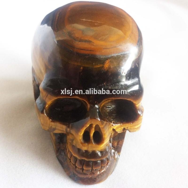 天然水晶の彫刻黄色中国のサプライヤーからスカルタイガーアイ-記念品問屋・仕入れ・卸・卸売り