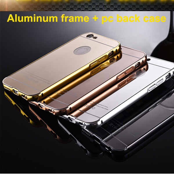 Iphone用ケースaluminum+acrylic6金属金属バンパーの携帯電話ケースミラーバックカバー-携帯電話バッグ、ケース問屋・仕入れ・卸・卸売り