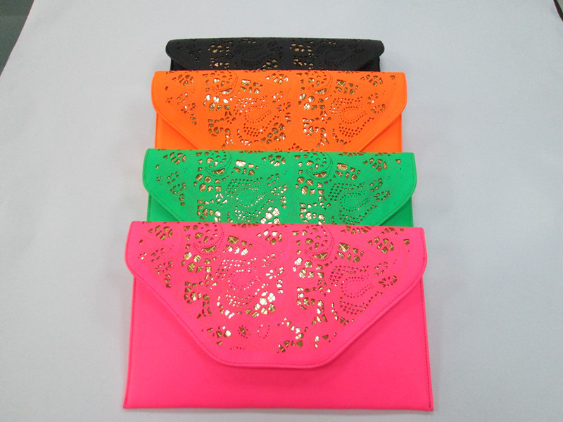 Pvc蛍光色から中空ファッション女性のクラッチバッグ/の夕方のパーティーバッグ-ハンドバッグ問屋・仕入れ・卸・卸売り