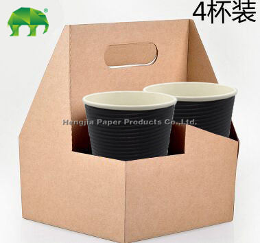 中国高品質4杯クラフト紙のカップホルダー付きハンドル奪うコーヒー-包装袋問屋・仕入れ・卸・卸売り