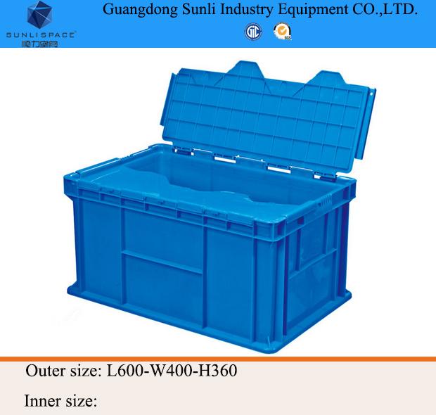 ロジスティックな棚84lスタッカブルpp蓋つきのプラスチック製の収納ボックス-梱包箱問屋・仕入れ・卸・卸売り