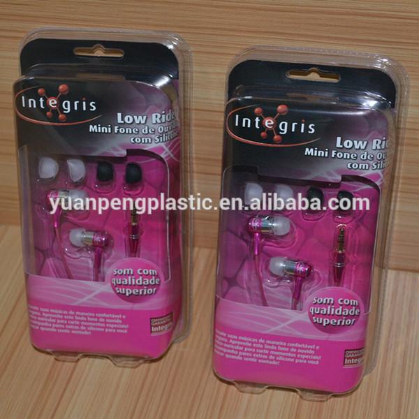 カスタム透明なプラスチックのイヤフォン用のブリスター包装、 インナーイヤー型卸売付きブリスター包装印刷されたカードやハング穴-包装用トレー問屋・仕入れ・卸・卸売り