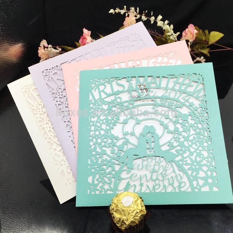 2016 エレガント な パール紙の花レーザー カット結婚式の招待カード-問屋・仕入れ・卸・卸売り