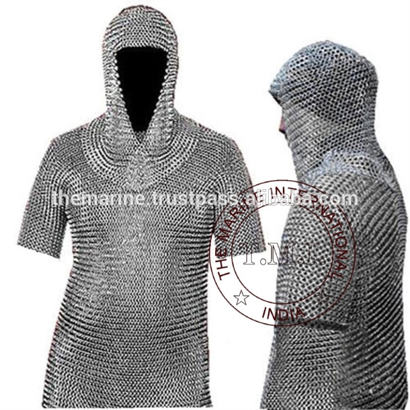 中世メイルシャツ&コイフ鎧セット-フルサイズ-金属工芸品問屋・仕入れ・卸・卸売り