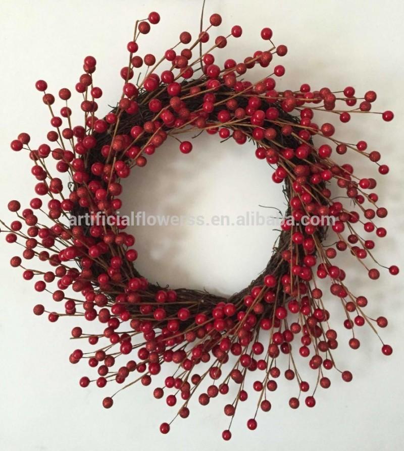 熱い販売の装飾的なクリスマスの花輪クリスマス籐赤い果実-クリスマスデコレーション用品問屋・仕入れ・卸・卸売り