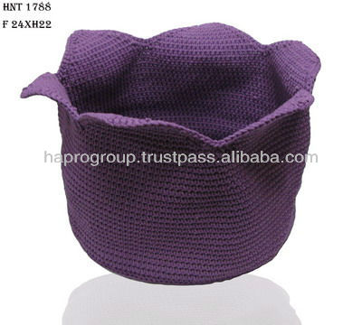ppハンドメイドかぎ針編みのバスケットベトナム製-織物と織物工芸問屋・仕入れ・卸・卸売り