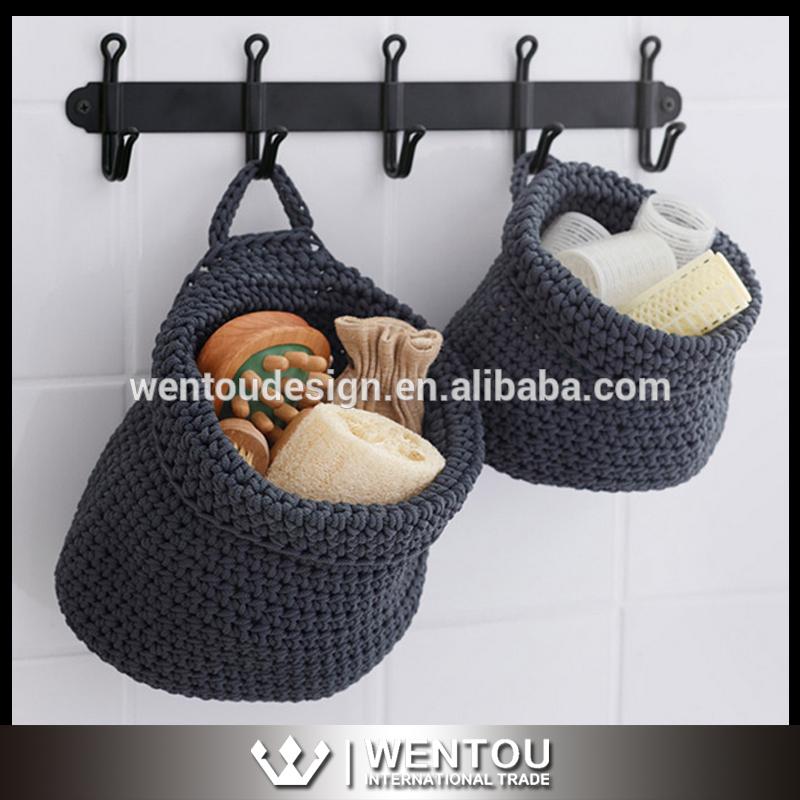 ホット販売手仕事かぎ針編み収納バスケット-造花問屋・仕入れ・卸・卸売り