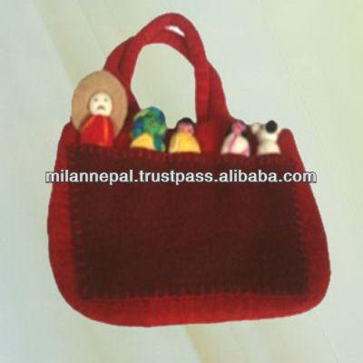 -家族熱い販売2013ネパールからレディースバッグフェルト人形-織物と織物工芸問屋・仕入れ・卸・卸売り
