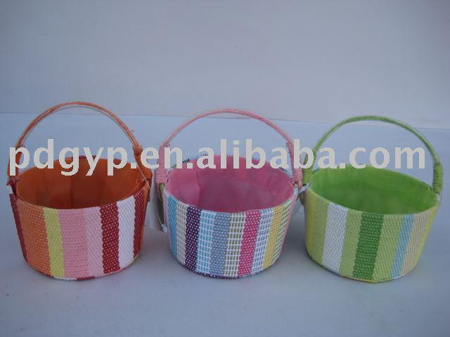 多色刷りの純粋な手すき紙の生地の貯蔵のバスケット-織物と織物工芸問屋・仕入れ・卸・卸売り