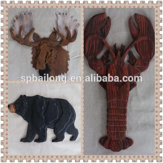 2016熱い販売大型木製装飾工芸品壁の装飾動物-木工芸品、ウッドクラフト問屋・仕入れ・卸・卸売り
