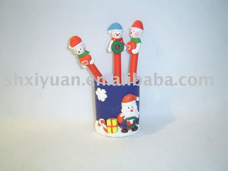 クリスマスのギフトの粘土のペン(XY002)-民芸品問屋・仕入れ・卸・卸売り