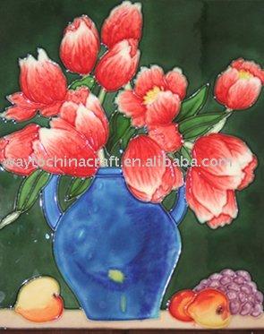 手塗りの装飾的なタイル-民芸品問屋・仕入れ・卸・卸売り