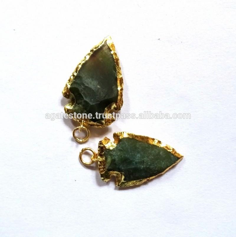 電気めっきを購入卸売緑の瑪瑙石khambhat輸出国から小さな矢じり-芸術コレクター商品問屋・仕入れ・卸・卸売り