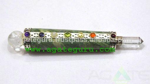 7チャクラグリーンアベンチュリン治癒スティック:卸売価格-半貴石工芸品問屋・仕入れ・卸・卸売り