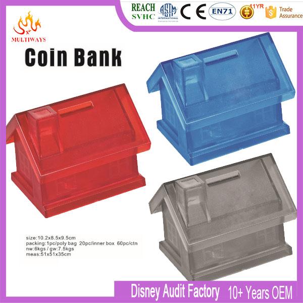 透明なプラスチック製の家の形コインバンクボックス-貯金箱問屋・仕入れ・卸・卸売り