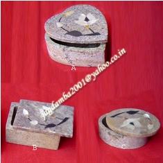 インド石鹸石パールインレイヴィンテージジュエリー小物ボックス-貯金箱問屋・仕入れ・卸・卸売り