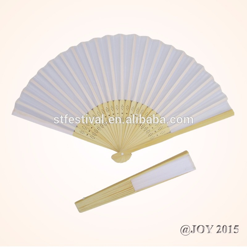 折り畳み式の白い無地のファブリックのハンドファン21*37cm23個の竹リブ付き結婚式のためのショップchrsitmasガーデンの装飾-芸術コレクター商品問屋・仕入れ・卸・卸売り