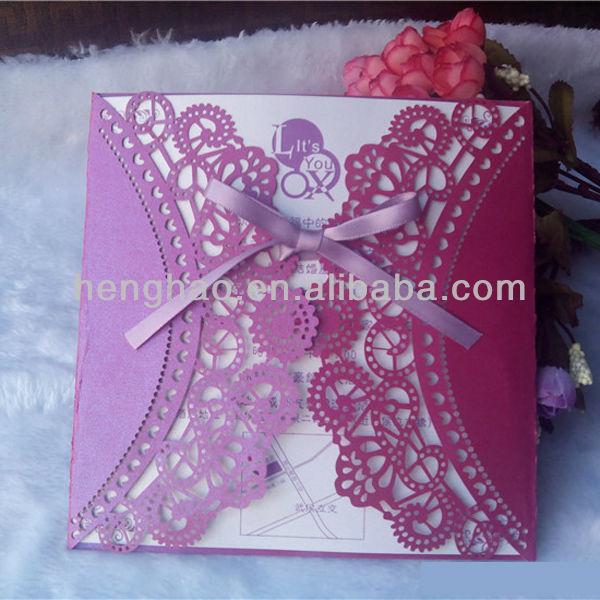 結婚式ホットの販売ハイエンド2014年レースのカットスタイルkoeran招待状のカード-造花問屋・仕入れ・卸・卸売り