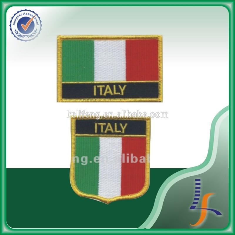 刺繍入り生地イタリア旗パッチ-織物と織物工芸問屋・仕入れ・卸・卸売り