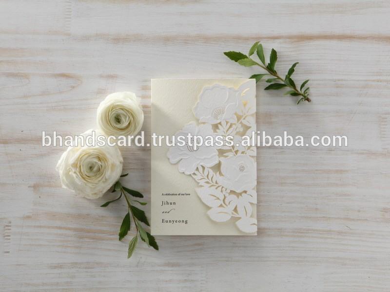 オリジナルカード白bhandsレーザーカット花bh5087結婚式の招待状のカード-紙工芸品、ペーパークラフト問屋・仕入れ・卸・卸売り