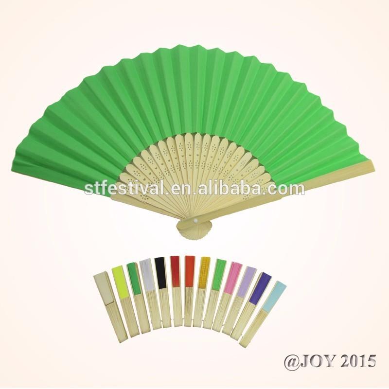折り畳み式の緑色のソリッドカラーの紙の手のファンを持つ21*37cm23個のパーティーのために竹リブfovor夏のプロモーションギフト-芸術コレクター商品問屋・仕入れ・卸・卸売り