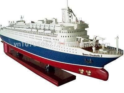 女王エリザベス2木材船モデル-芸術コレクター商品問屋・仕入れ・卸・卸売り