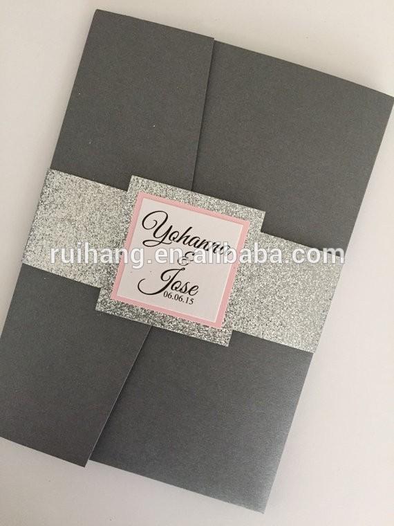 銀の輝きとピンクの紙のポケットとの結婚式の招待状のラベル-紙工芸品、ペーパークラフト問屋・仕入れ・卸・卸売り
