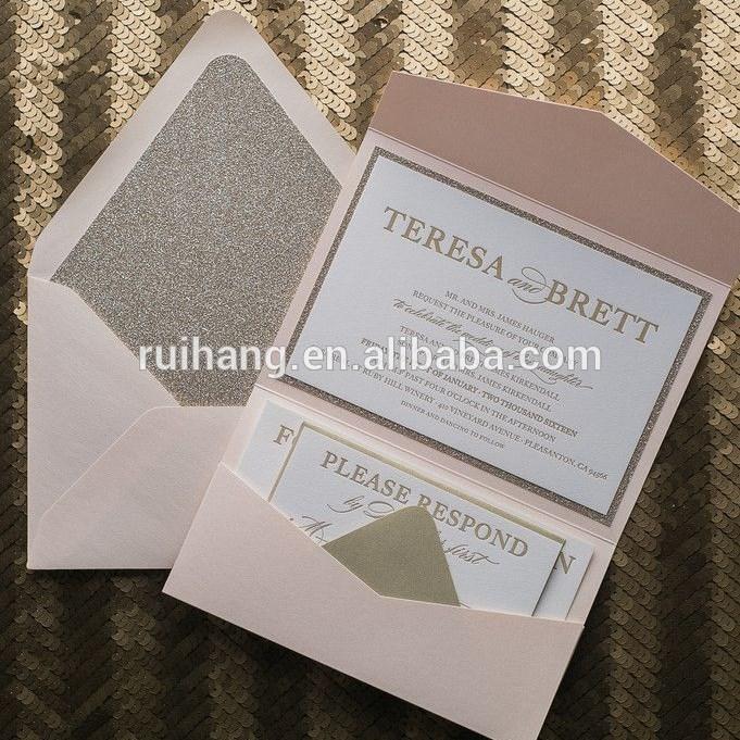 チークとゴールドグリッター活版ポケットフォルダ付き結婚式の招待状カード-紙工芸品、ペーパークラフト問屋・仕入れ・卸・卸売り