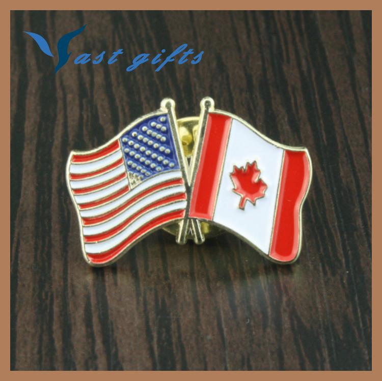 アメリカとカナダ交差した友情フラグラペルピン-金属工芸品問屋・仕入れ・卸・卸売り